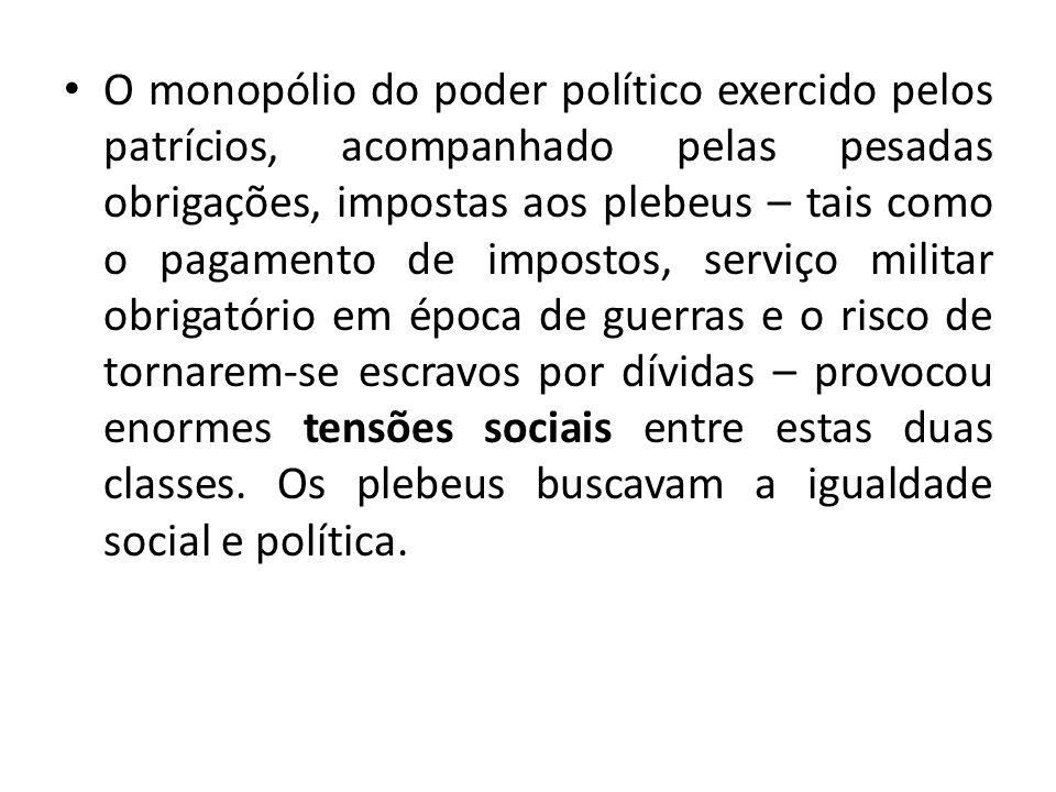 O monopólio do poder político exercido pelos patrícios, acompanhado pelas pesadas obrigações, impostas aos plebeus – tais como o pagamento de impostos