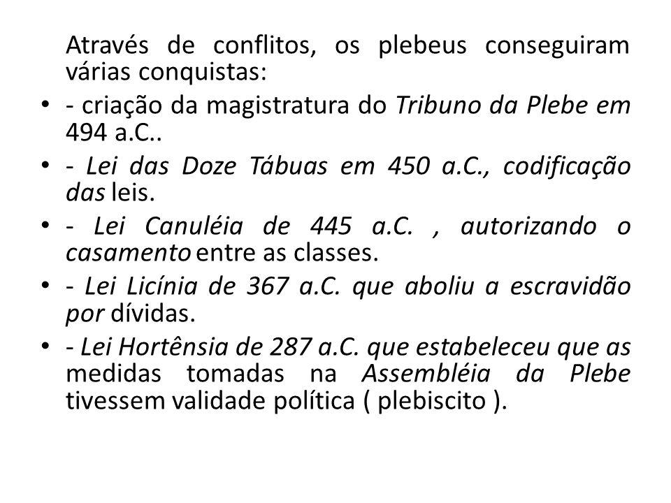 Através de conflitos, os plebeus conseguiram várias conquistas: - criação da magistratura do Tribuno da Plebe em 494 a.C.. - Lei das Doze Tábuas em 45