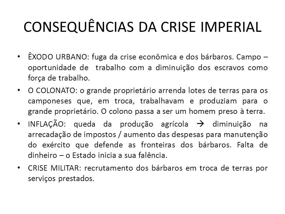 CONSEQUÊNCIAS DA CRISE IMPERIAL ÊXODO URBANO: fuga da crise econômica e dos bárbaros. Campo – oportunidade de trabalho com a diminuição dos escravos c