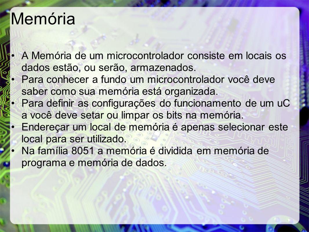 Memória A Memória de um microcontrolador consiste em locais os dados estão, ou serão, armazenados. Para conhecer a fundo um microcontrolador você deve