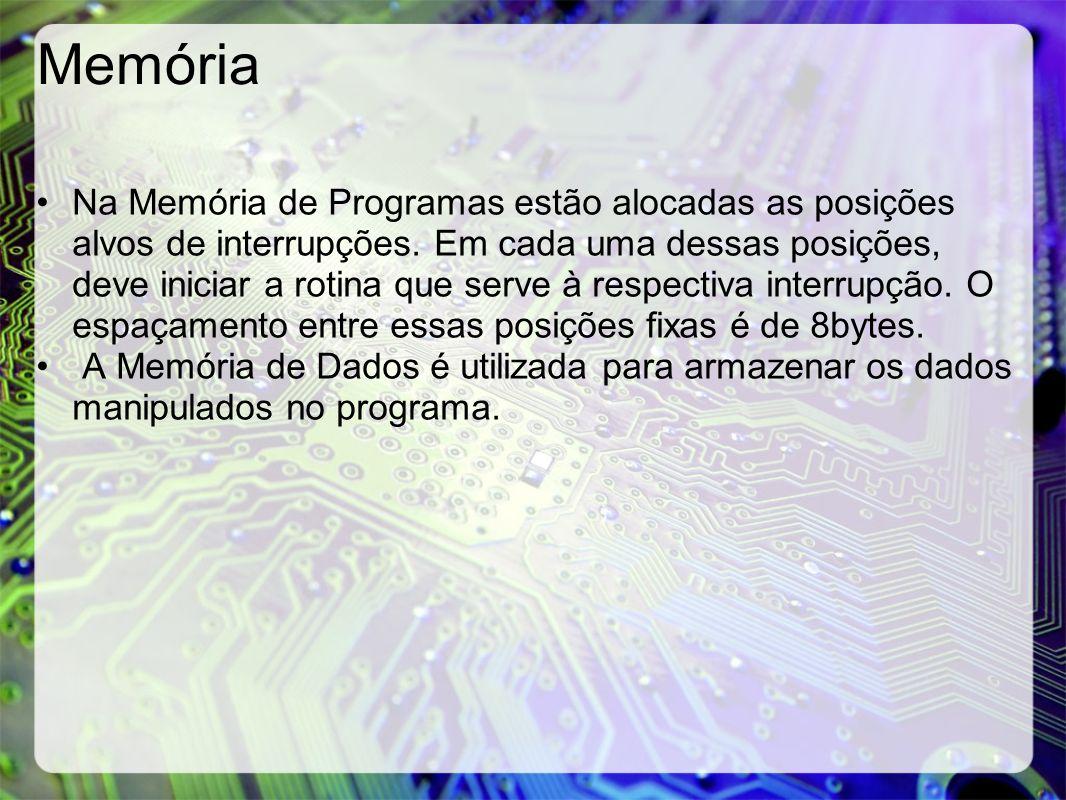 Memória Na Memória de Programas estão alocadas as posições alvos de interrupções. Em cada uma dessas posições, deve iniciar a rotina que serve à respe