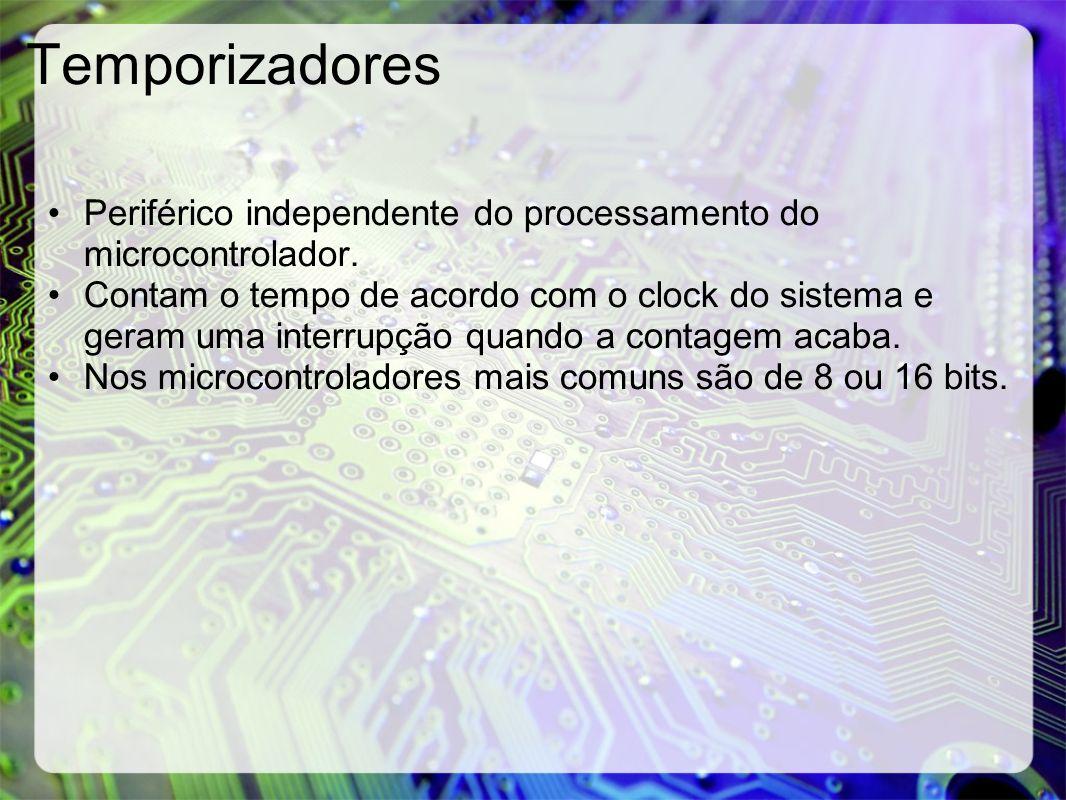 Temporizadores Periférico independente do processamento do microcontrolador. Contam o tempo de acordo com o clock do sistema e geram uma interrupção q