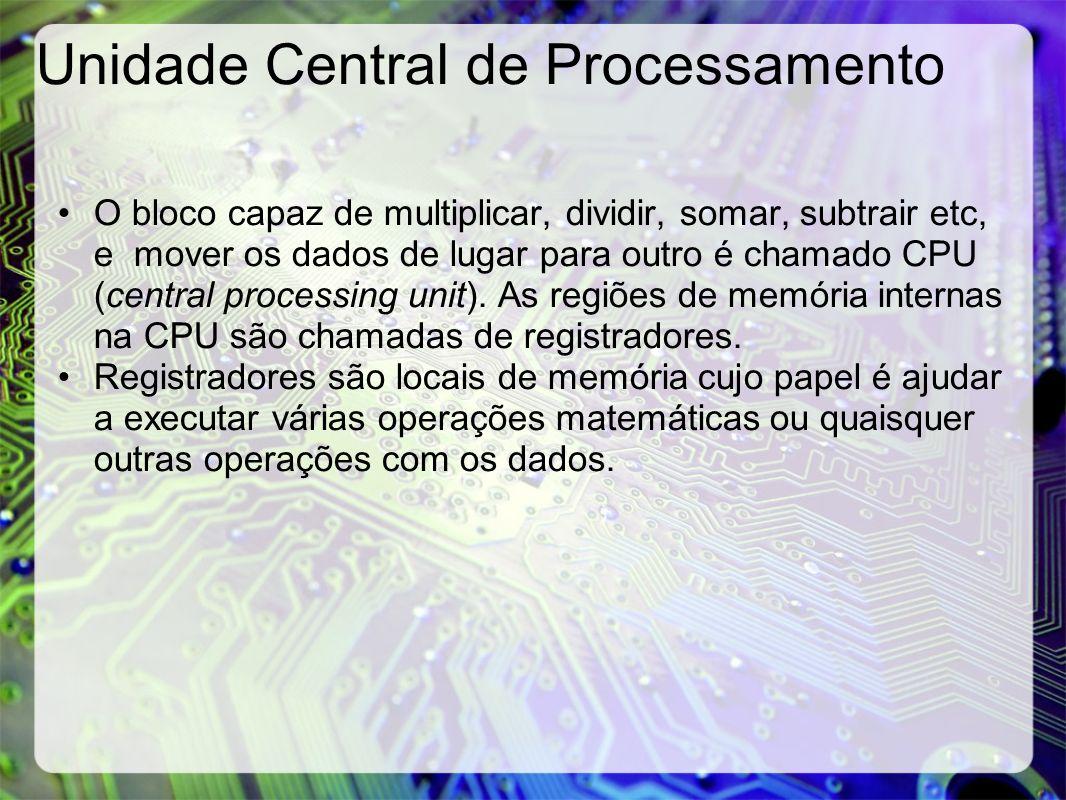 Unidade Central de Processamento O bloco capaz de multiplicar, dividir, somar, subtrair etc, e mover os dados de lugar para outro é chamado CPU (centr