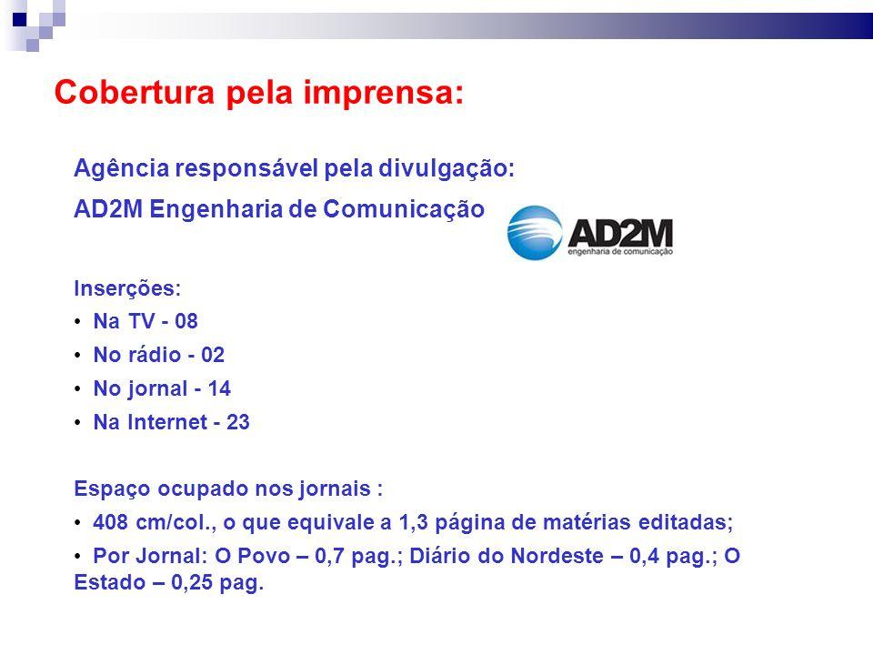 Cobertura pela imprensa: Agência responsável pela divulgação: AD2M Engenharia de Comunicação Inserções: Na TV - 08 No rádio - 02 No jornal - 14 Na Int