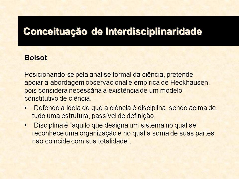 Boisot Posicionando-se pela análise formal da ciência, pretende apoiar a abordagem observacional e empírica de Heckhausen, pois considera necessária a