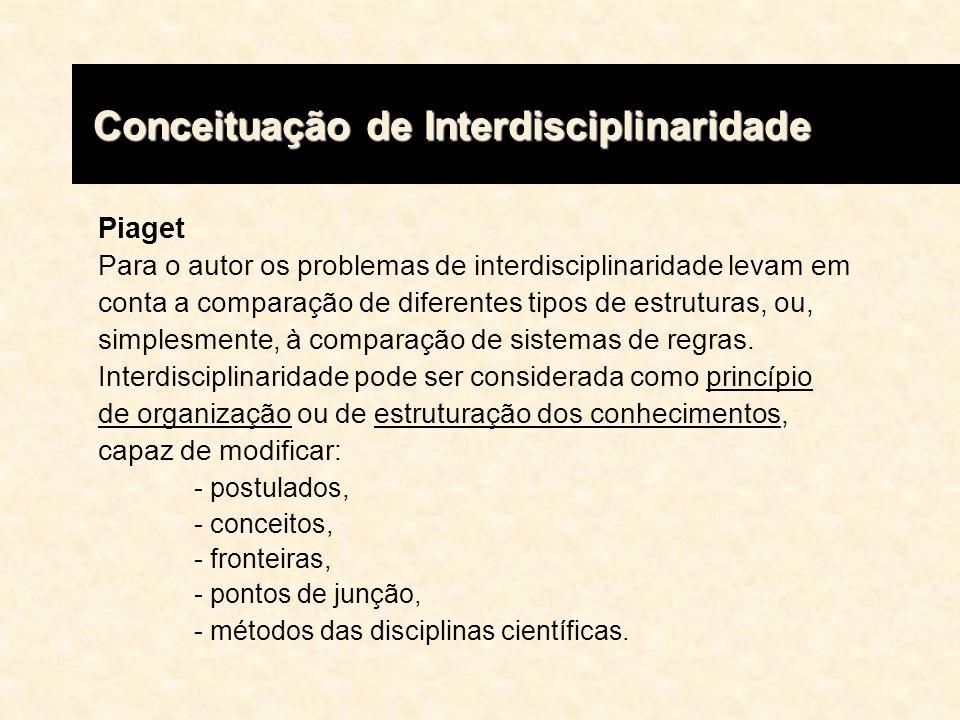 Piaget Para o autor os problemas de interdisciplinaridade levam em conta a comparação de diferentes tipos de estruturas, ou, simplesmente, à comparaçã