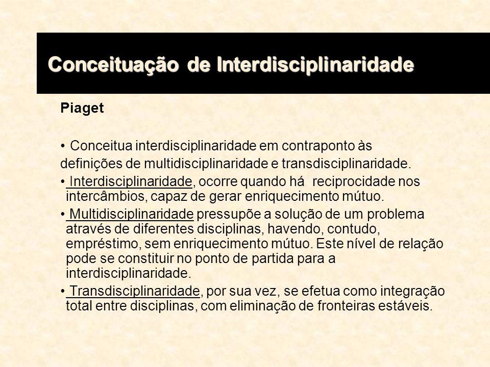 Piaget Conceitua interdisciplinaridade em contraponto às definições de multidisciplinaridade e transdisciplinaridade. Interdisciplinaridade, ocorre qu