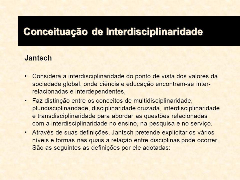 Jantsch Considera a interdisciplinaridade do ponto de vista dos valores da sociedade global, onde ciência e educação encontram-se inter- relacionadas