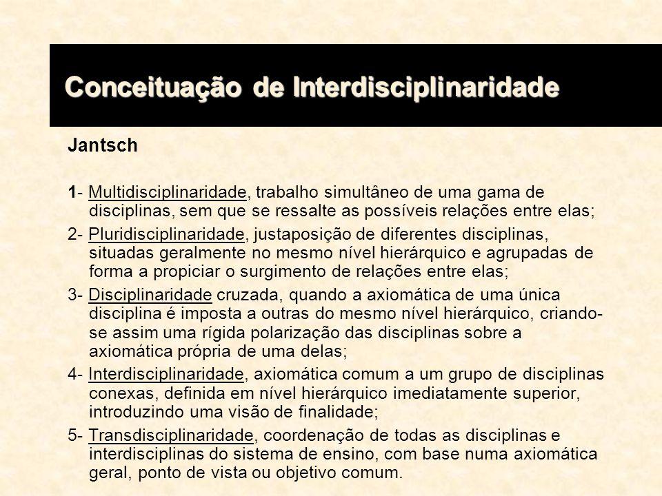 Conceituação de Interdisciplinaridade Conceituação de Interdisciplinaridade Jantsch 1- Multidisciplinaridade, trabalho simultâneo de uma gama de disci
