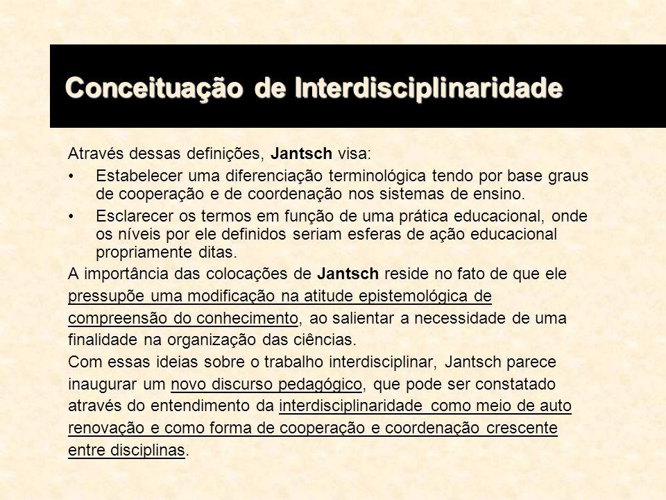 Através dessas definições, Jantsch visa: Estabelecer uma diferenciação terminológica tendo por base graus de cooperação e de coordenação nos sistemas