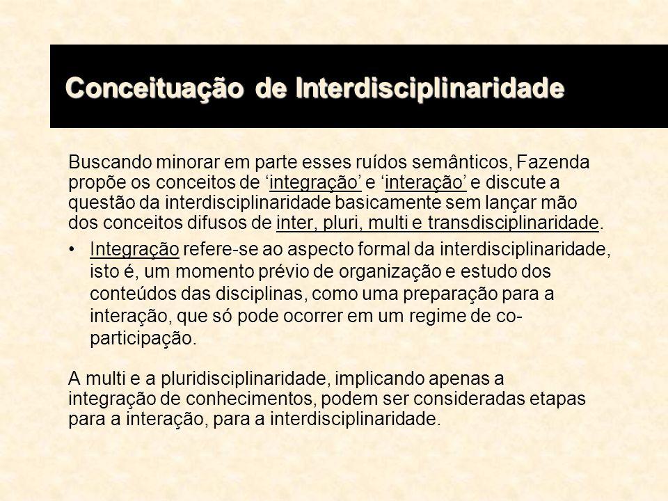 Buscando minorar em parte esses ruídos semânticos, Fazenda propõe os conceitos de integração e interação e discute a questão da interdisciplinaridade