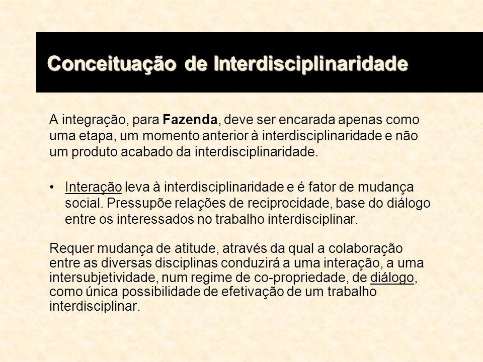 A integração, para Fazenda, deve ser encarada apenas como uma etapa, um momento anterior à interdisciplinaridade e não um produto acabado da interdisc