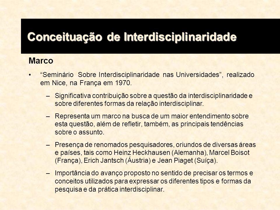 Conceituação de Interdisciplinaridade Conceituação de Interdisciplinaridade Jantsch 1- Multidisciplinaridade, trabalho simultâneo de uma gama de disciplinas, sem que se ressalte as possíveis relações entre elas; 2- Pluridisciplinaridade, justaposição de diferentes disciplinas, situadas geralmente no mesmo nível hierárquico e agrupadas de forma a propiciar o surgimento de relações entre elas; 3- Disciplinaridade cruzada, quando a axiomática de uma única disciplina é imposta a outras do mesmo nível hierárquico, criando- se assim uma rígida polarização das disciplinas sobre a axiomática própria de uma delas; 4- Interdisciplinaridade, axiomática comum a um grupo de disciplinas conexas, definida em nível hierárquico imediatamente superior, introduzindo uma visão de finalidade; 5- Transdisciplinaridade, coordenação de todas as disciplinas e interdisciplinas do sistema de ensino, com base numa axiomática geral, ponto de vista ou objetivo comum.