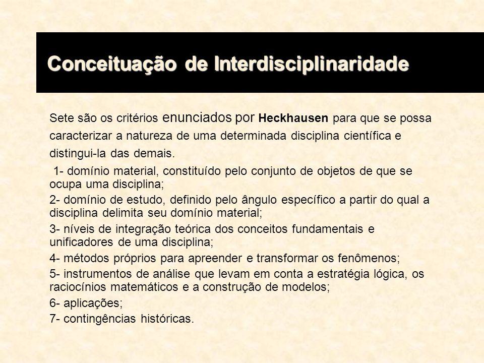 Os sete critérios propostos por Heckhausen para delimitar uma disciplina, levaram-no a diferenciar pelo menos seis possíveis formas de relação interdisciplinar, ordenadas segundo uma escala ascendente de maturidade: 1- heterogênea, equivalente ao enfoque enciclopédico, que combina programas diferentemente dosados; 2- pseudo-interdisciplinar, que consiste na utilização de determinados instrumentos conceituais e de análise tidos como epistemologicamente neutros e capazes de funcionar como um denominador comum entre diferentes disciplinas; 3- auxiliar, quando se utiliza, numa disciplina, alguns métodos ou procedimentos próprios de outra; 4- compósita, quando ocorre a reunião de diferentes disciplinas com o objetivo de tentar soluções técnicas para grandes problemas histórico- sociais; Conceituação de Interdisciplinaridade