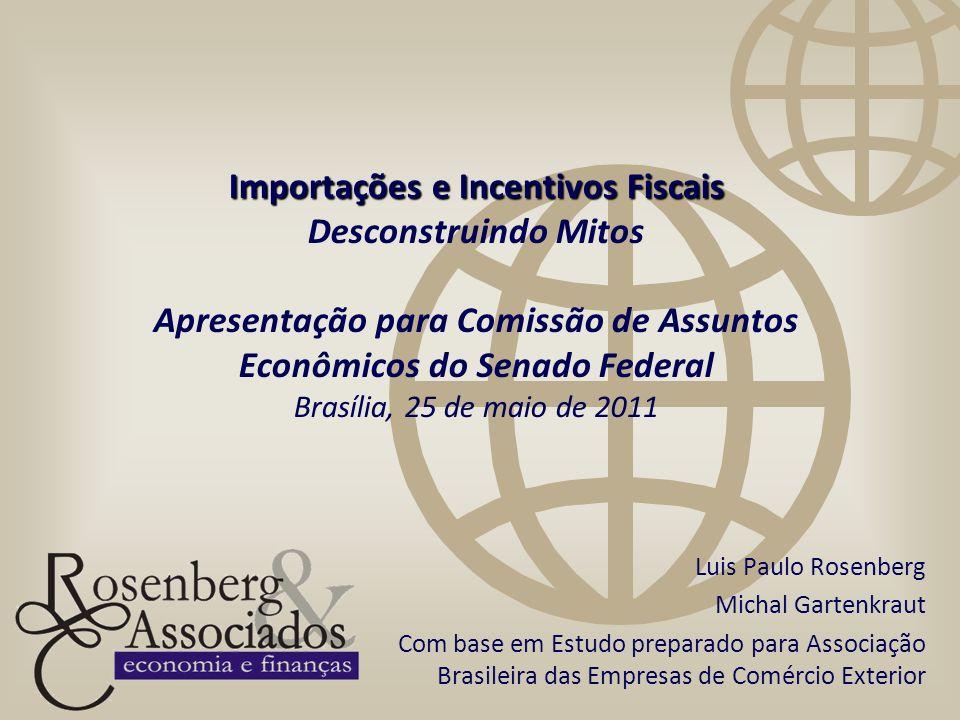 Importações e Incentivos Fiscais Importações e Incentivos Fiscais Desconstruindo Mitos Apresentação para Comissão de Assuntos Econômicos do Senado Fed
