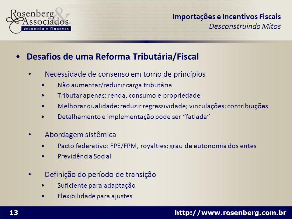 13 http://www.rosenberg.com.br Importações e Incentivos Fiscais Desconstruindo Mitos Desafios de uma Reforma Tributária/Fiscal Necessidade de consenso
