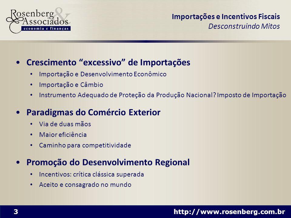 3 http://www.rosenberg.com.br Importações e Incentivos Fiscais Desconstruindo Mitos Crescimento excessivo de Importações Importação e Desenvolvimento