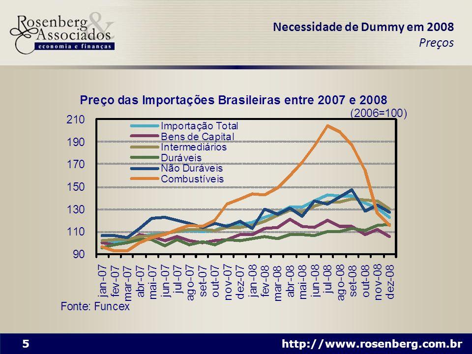 6 http://www.rosenberg.com.br A equação representa fit quase perfeito PIB e câmbio efetivo explicam o crescimento das importações Portanto, não há necessidade de outras variáveis para explicar o crescimento das importações