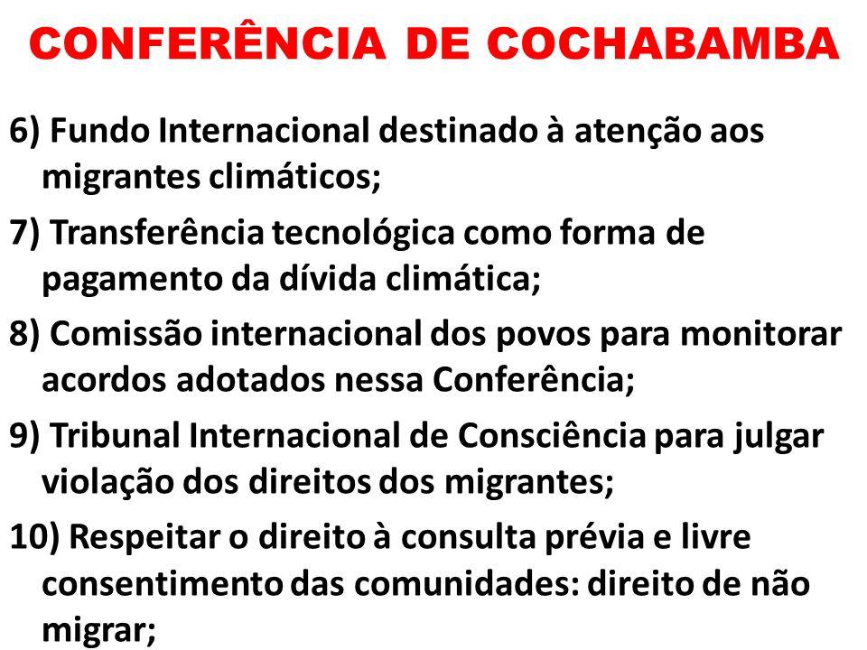 CONFERÊNCIA DE COCHABAMBA 6) Fundo Internacional destinado à atenção aos migrantes climáticos; 7) Transferência tecnológica como forma de pagamento da