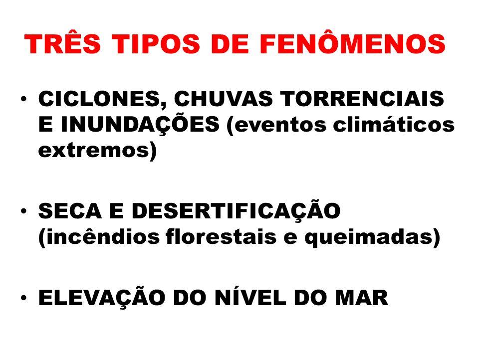 TRÊS TIPOS DE FENÔMENOS CICLONES, CHUVAS TORRENCIAIS E INUNDAÇÕES (eventos climáticos extremos) SECA E DESERTIFICAÇÃO (incêndios florestais e queimada