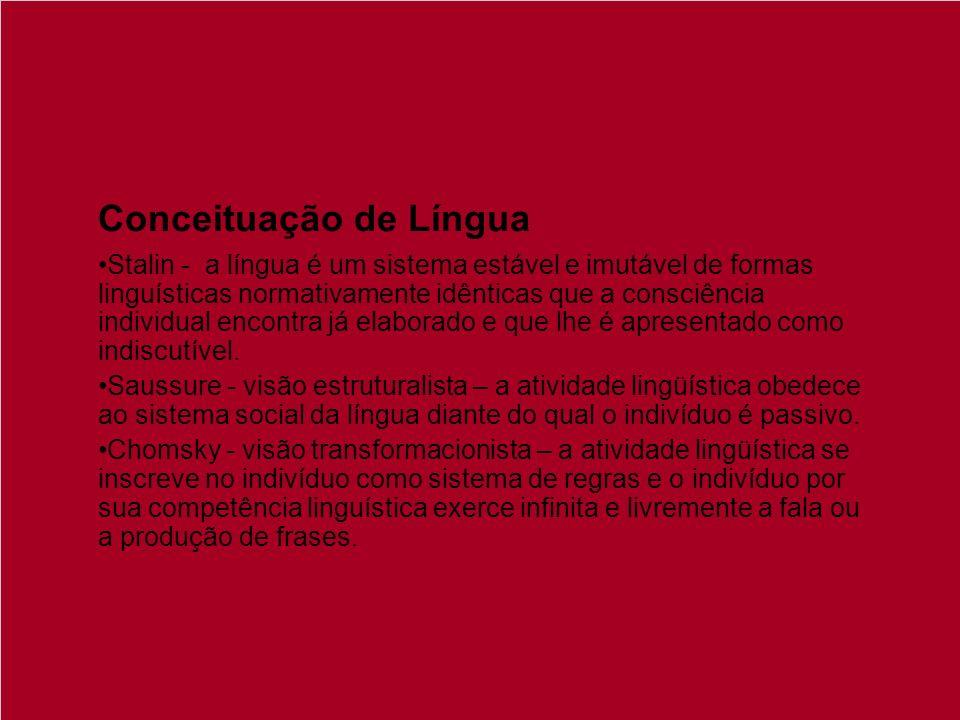 Conceituação de Língua Stalin - a língua é um sistema estável e imutável de formas linguísticas normativamente idênticas que a consciência individual