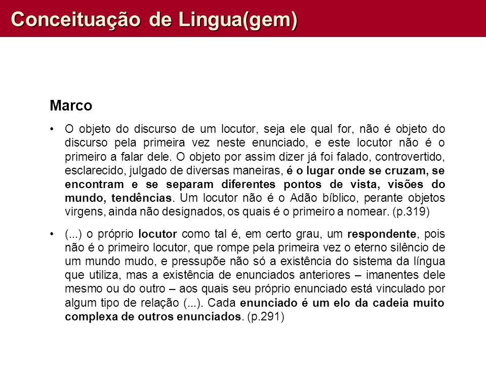 Conceituação de Lingua(gem) Marco O objeto do discurso de um locutor, seja ele qual for, não é objeto do discurso pela primeira vez neste enunciado, e