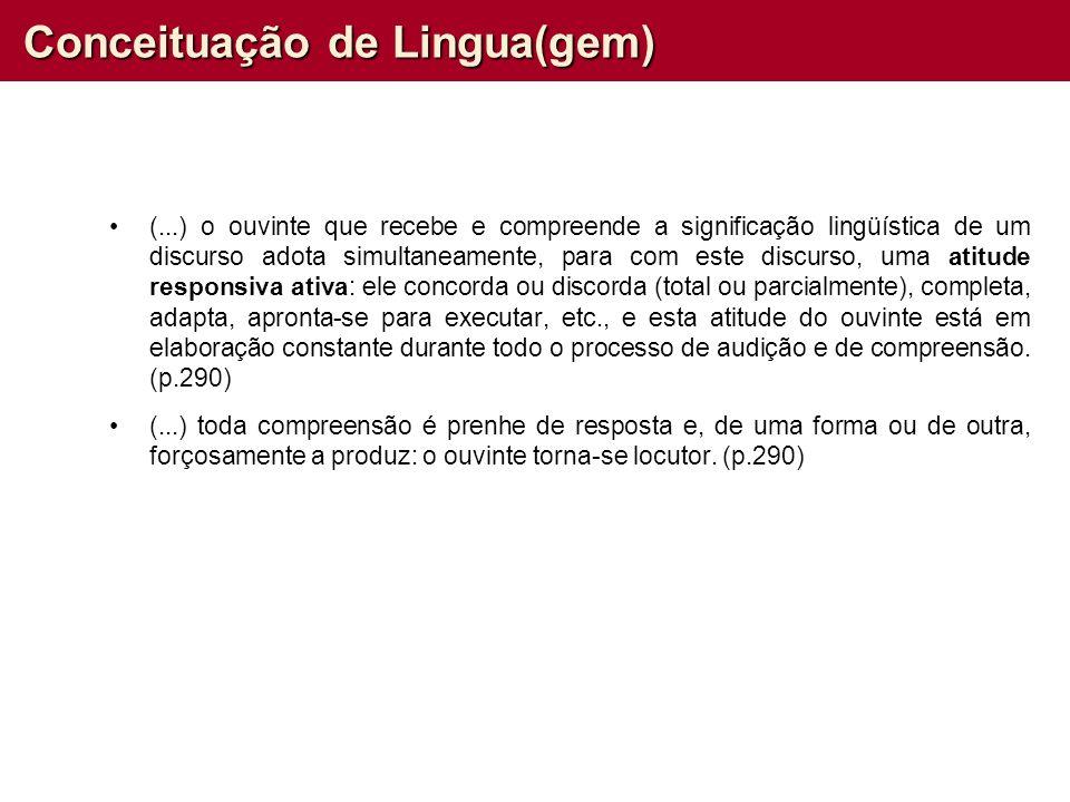 Conceituação de Lingua(gem) (...) o ouvinte que recebe e compreende a significação lingüística de um discurso adota simultaneamente, para com este dis