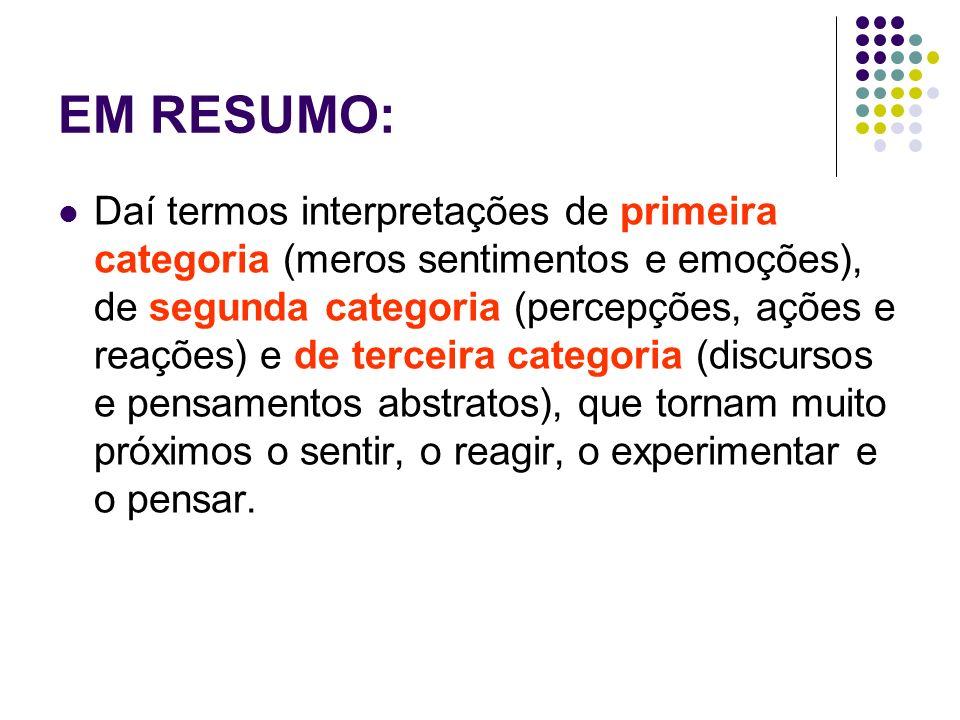 EM RESUMO: Daí termos interpretações de primeira categoria (meros sentimentos e emoções), de segunda categoria (percepções, ações e reações) e de terc