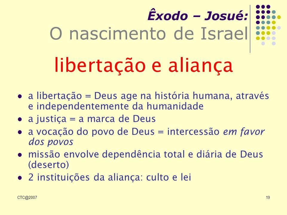 CTC@200719 Êxodo – Josué: O nascimento de Israel libertação e aliança a libertação = Deus age na história humana, através e independentemente da human