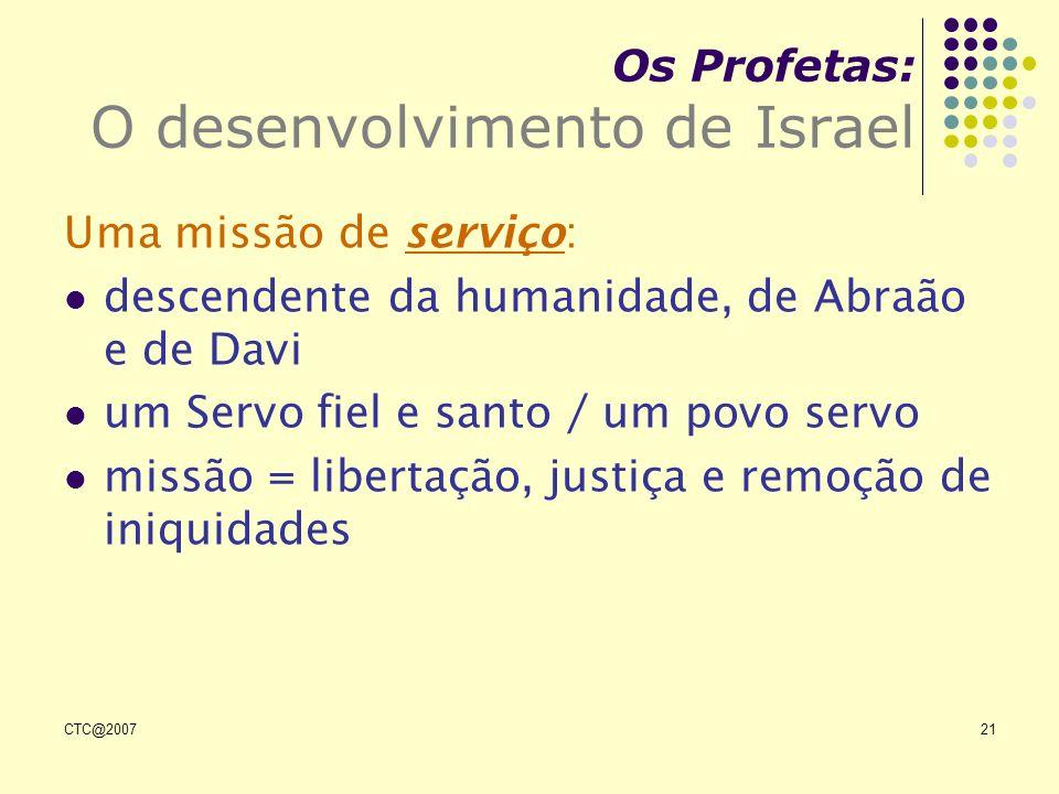 CTC@200721 Os Profetas: O desenvolvimento de Israel Uma missão de serviço: descendente da humanidade, de Abraão e de Davi um Servo fiel e santo / um p
