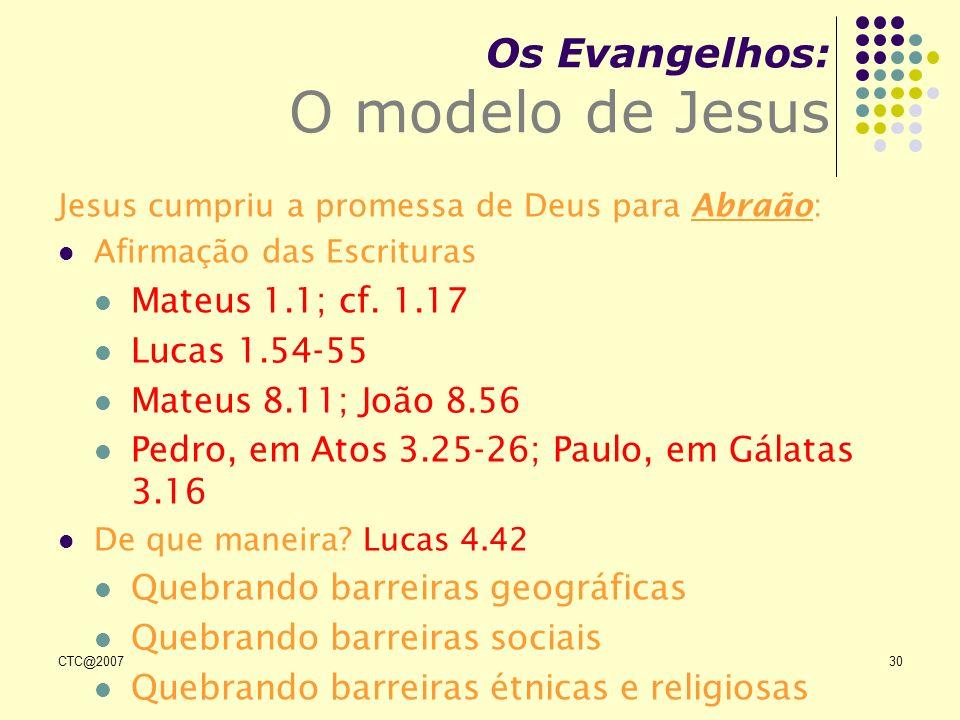 CTC@200730 Os Evangelhos: O modelo de Jesus Jesus cumpriu a promessa de Deus para Abraão: Afirmação das Escrituras Mateus 1.1; cf. 1.17 Lucas 1.54-55