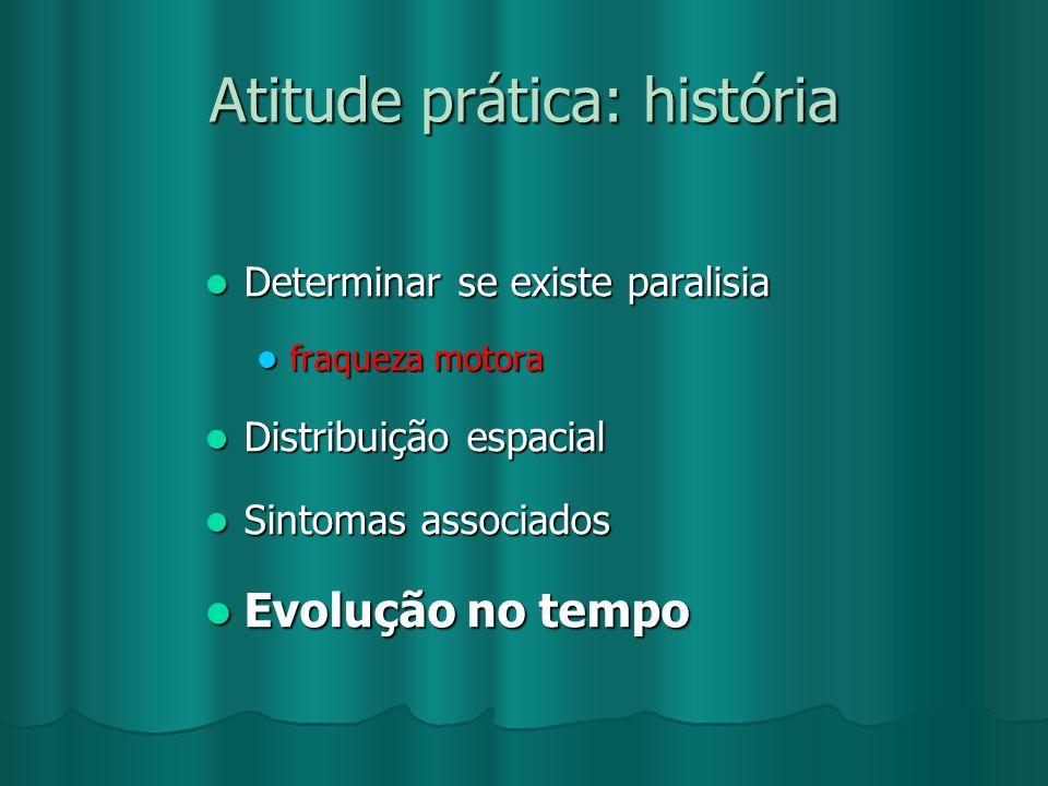 Atitude prática: história Determinar se existe paralisia Determinar se existe paralisia fraqueza motora fraqueza motora Distribuição espacial Distribu