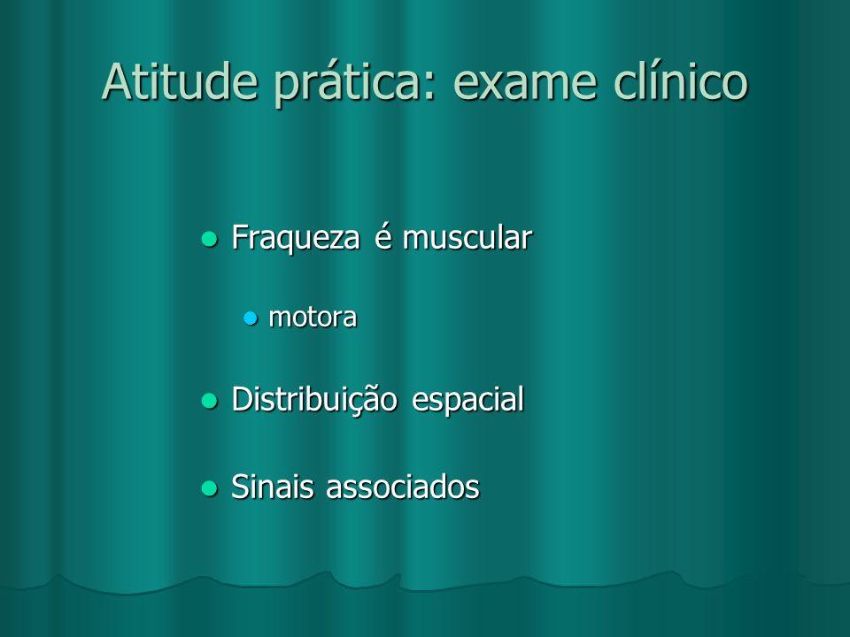 Atitude prática: exame clínico Fraqueza é muscular Fraqueza é muscular motora Distribuição espacial Distribuição espacial Sinais associados Sinais ass