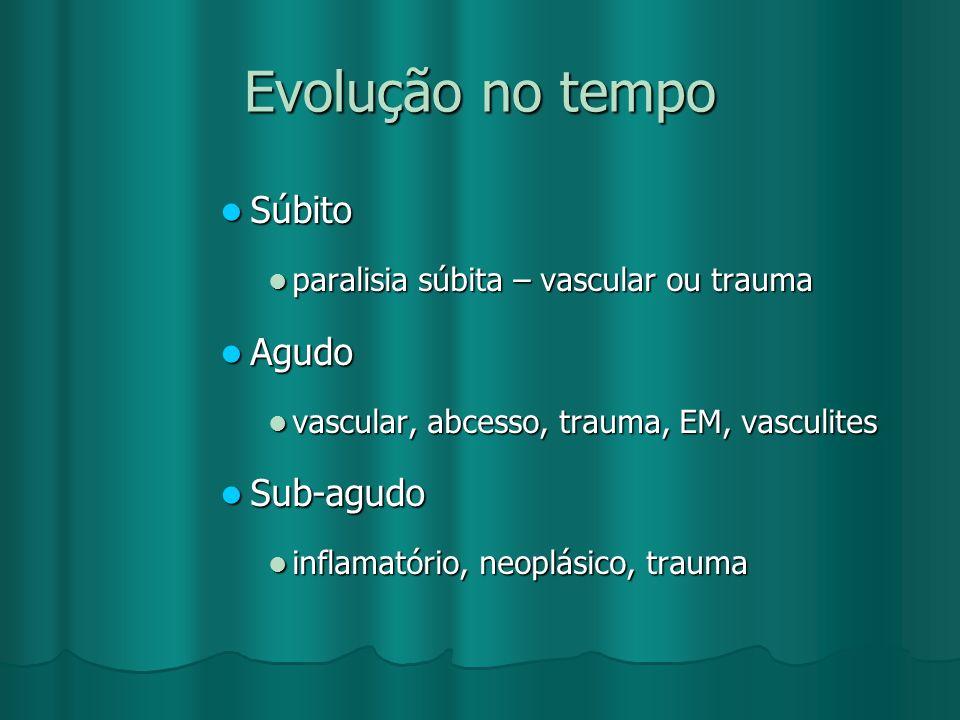 Evolução no tempo Súbito Súbito paralisia súbita – vascular ou trauma paralisia súbita – vascular ou trauma Agudo Agudo vascular, abcesso, trauma, EM,