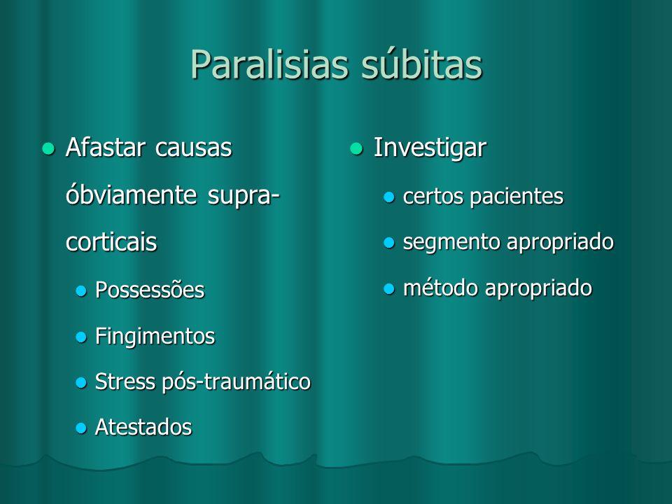 Paralisias súbitas Afastar causas óbviamente supra- corticais Afastar causas óbviamente supra- corticais Possessões Possessões Fingimentos Fingimentos