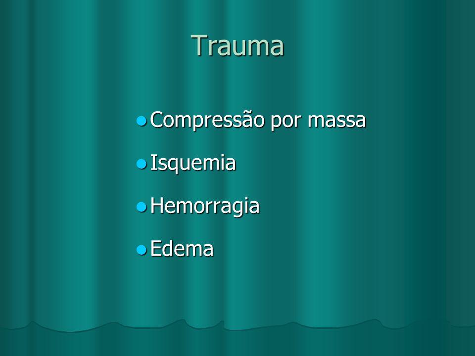 Trauma Compressão por massa Compressão por massa Isquemia Isquemia Hemorragia Hemorragia Edema Edema