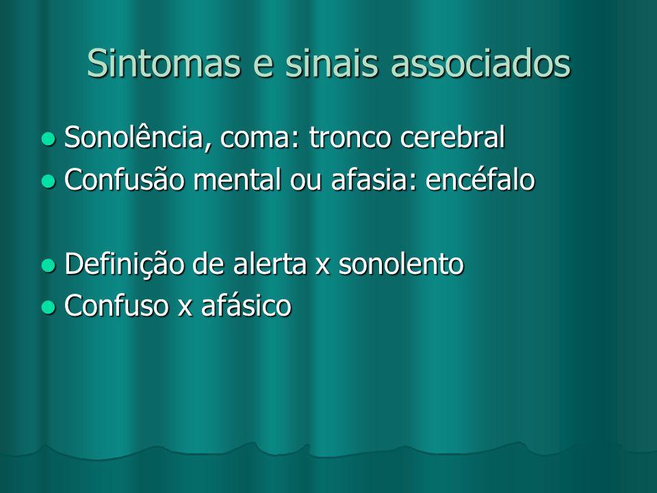 Sintomas e sinais associados Sonolência, coma: tronco cerebral Sonolência, coma: tronco cerebral Confusão mental ou afasia: encéfalo Confusão mental o
