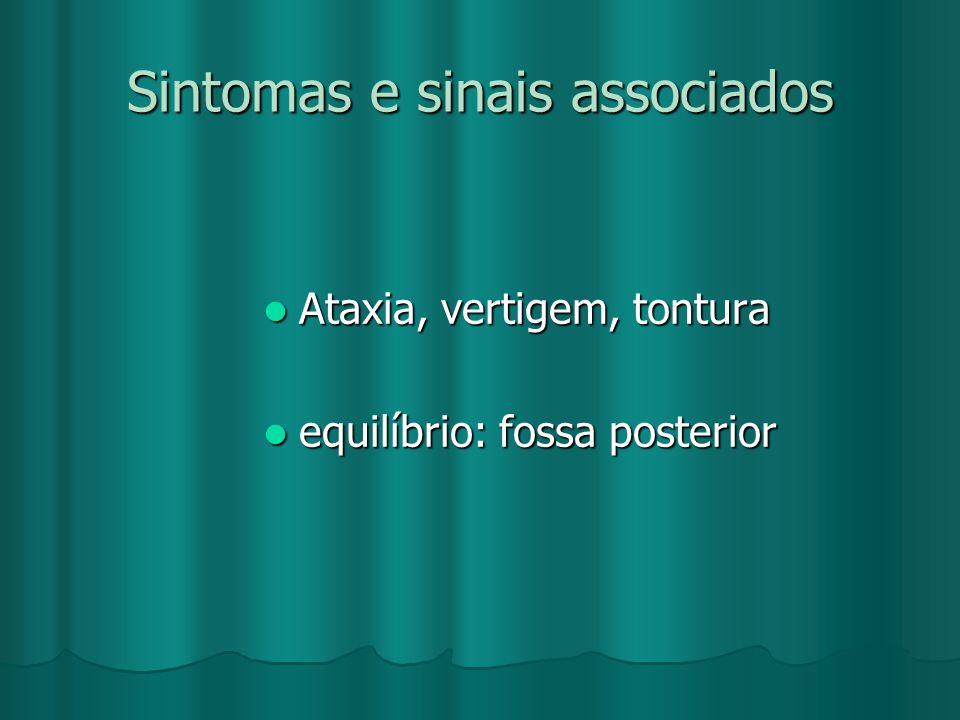 Sintomas e sinais associados Ataxia, vertigem, tontura Ataxia, vertigem, tontura equilíbrio: fossa posterior equilíbrio: fossa posterior
