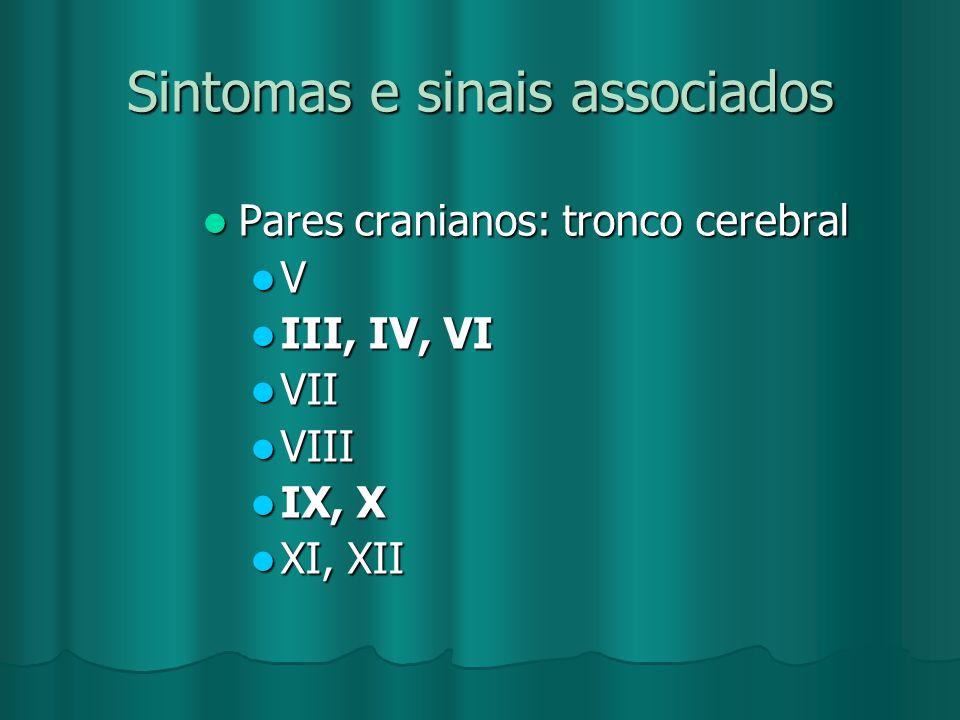 Sintomas e sinais associados Pares cranianos: tronco cerebral Pares cranianos: tronco cerebral V III, IV, VI III, IV, VI VII VII VIII VIII IX, X IX, X