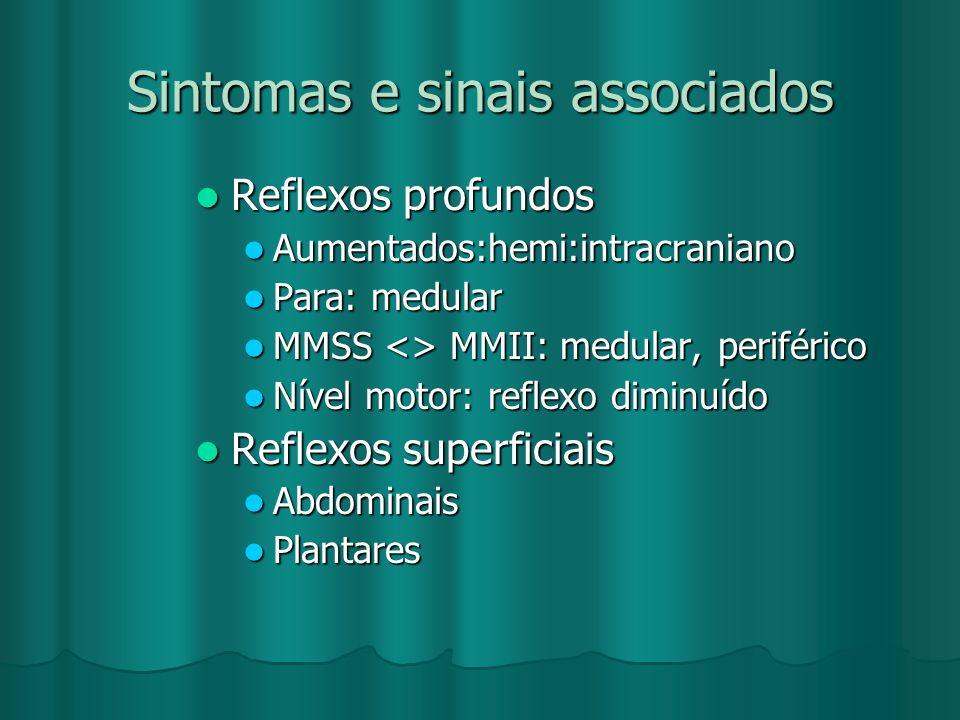 Sintomas e sinais associados Reflexos profundos Reflexos profundos Aumentados:hemi:intracraniano Aumentados:hemi:intracraniano Para: medular Para: med
