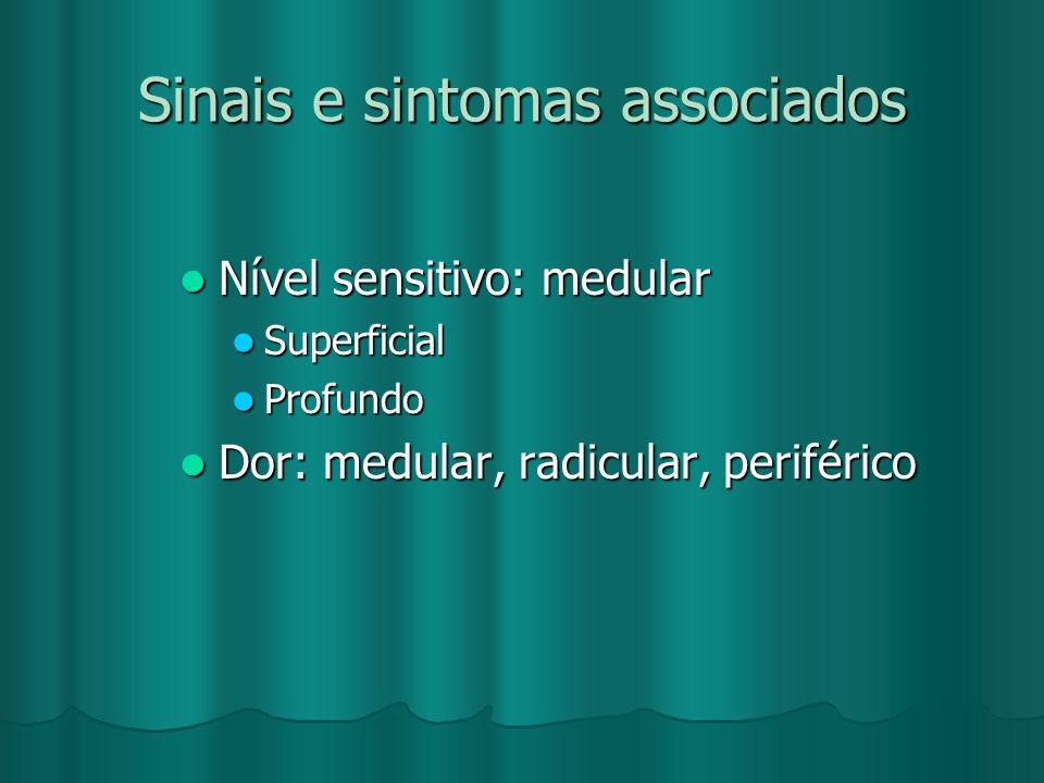 Sinais e sintomas associados Nível sensitivo: medular Nível sensitivo: medular Superficial Superficial Profundo Profundo Dor: medular, radicular, peri
