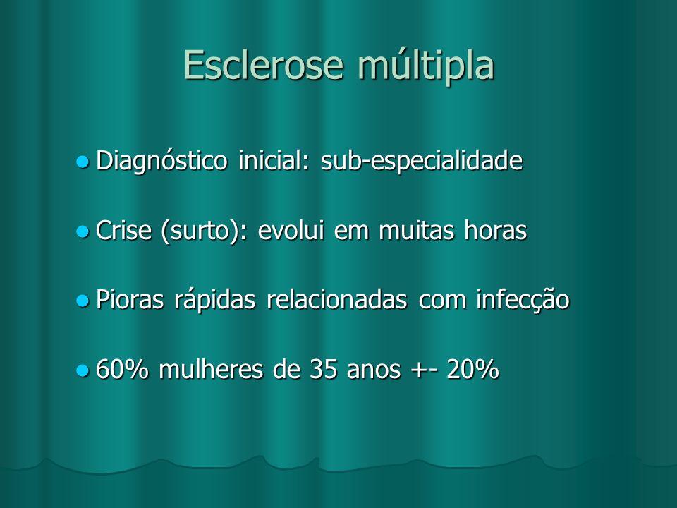 Esclerose múltipla Diagnóstico inicial: sub-especialidade Diagnóstico inicial: sub-especialidade Crise (surto): evolui em muitas horas Crise (surto):
