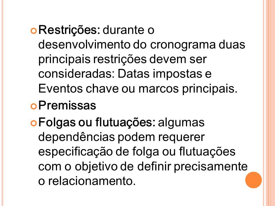Restrições: durante o desenvolvimento do cronograma duas principais restrições devem ser consideradas: Datas impostas e Eventos chave ou marcos princi