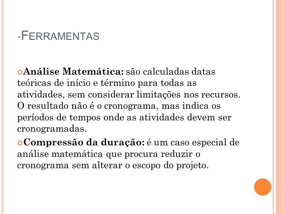 - F ERRAMENTAS Análise Matemática: são calculadas datas teóricas de início e término para todas as atividades, sem considerar limitações nos recursos.