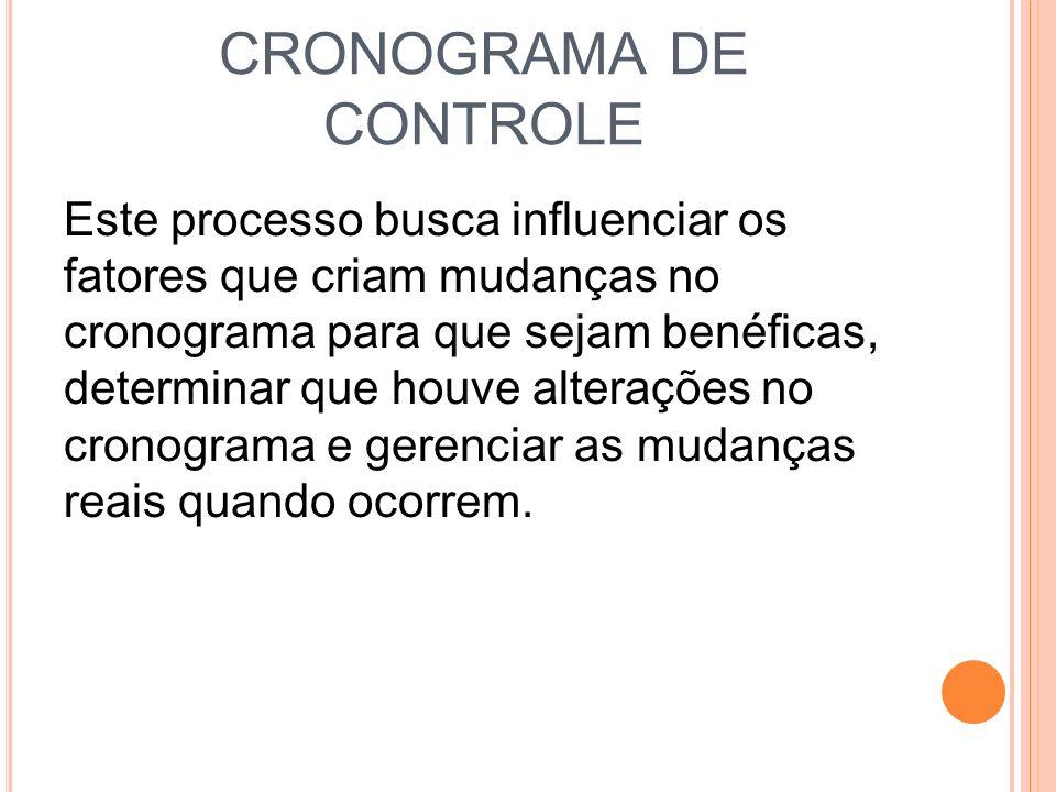 CRONOGRAMA DE CONTROLE Este processo busca influenciar os fatores que criam mudanças no cronograma para que sejam benéficas, determinar que houve alte