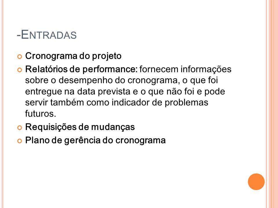 -E NTRADAS Cronograma do projeto Relatórios de performance: fornecem informações sobre o desempenho do cronograma, o que foi entregue na data prevista