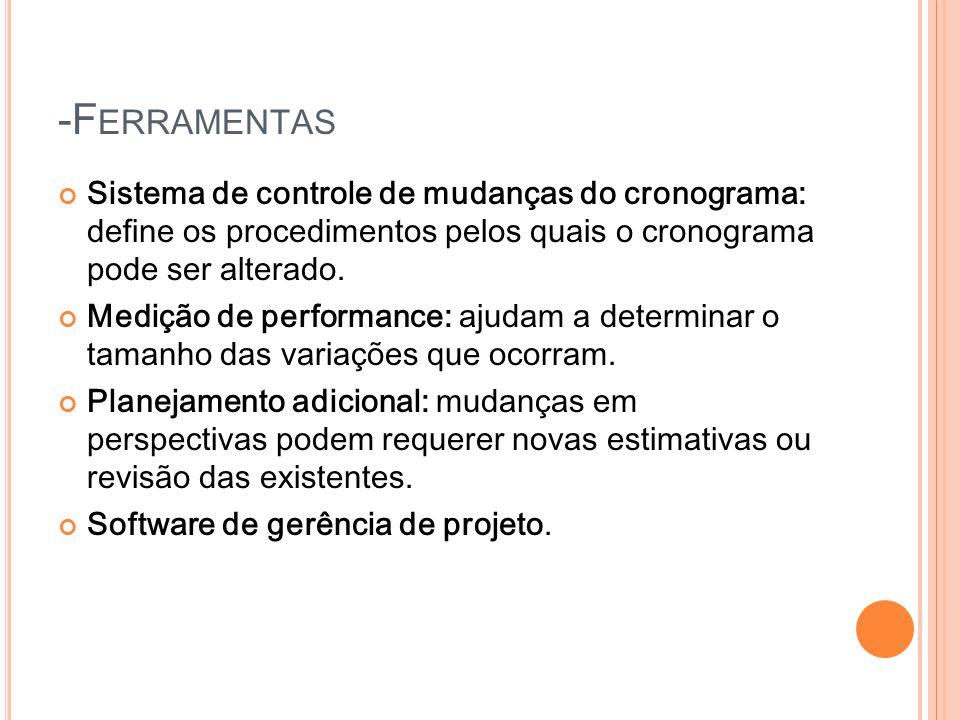 -F ERRAMENTAS Sistema de controle de mudanças do cronograma: define os procedimentos pelos quais o cronograma pode ser alterado. Medição de performanc