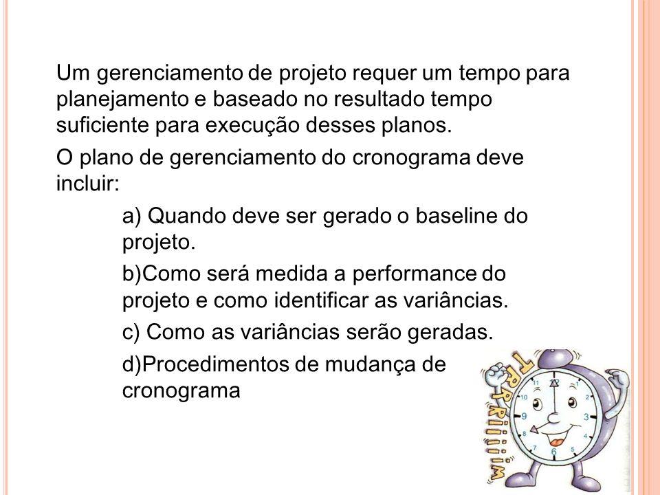 -S AÍDAS Cronograma do projeto Detalhes de suporte Plano de gerência do cronograma Atualização dos recursos requeridos