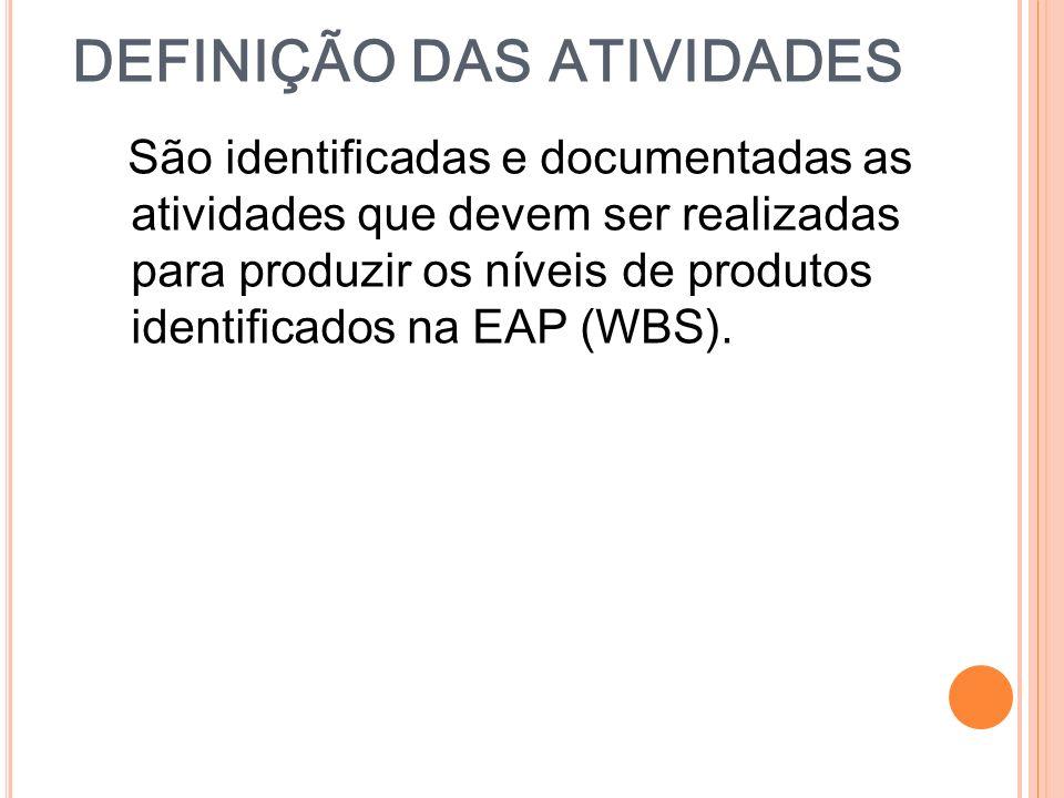 DEFINIÇÃO DAS ATIVIDADES São identificadas e documentadas as atividades que devem ser realizadas para produzir os níveis de produtos identificados na