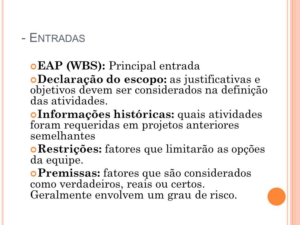 - E NTRADAS EAP (WBS): Principal entrada Declaração do escopo: as justificativas e objetivos devem ser considerados na definição das atividades. Infor